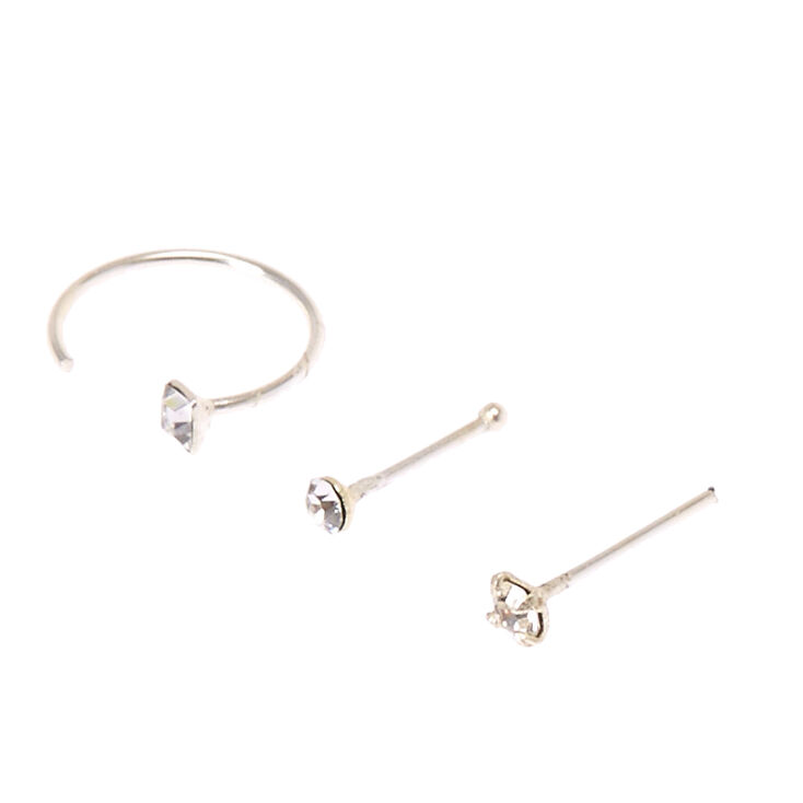 Sterling Silver Mixed Half Hoop Stud Nose Rings Set 3 Pack Claire S