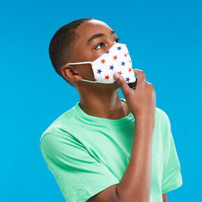 Cotton White, Red, and Blue Star Face Mask - Child Medium/Large,