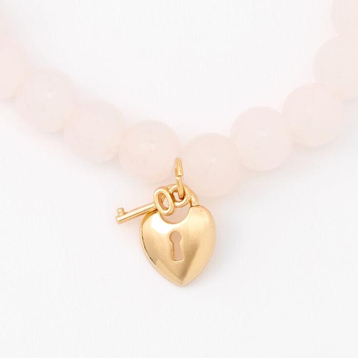 Gold Heart Lock & Key Beaded Stretch Bracelet - Blush Pink,
