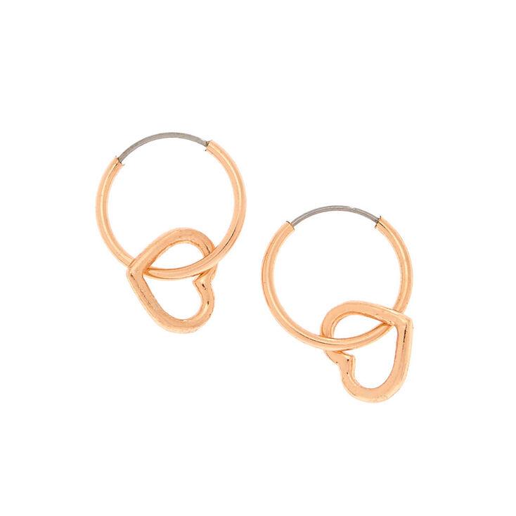 b890d8d1e67f2 Rose Gold 12MM Heart Charm Hoop Earrings