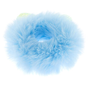 Medium Faux Fur Holographic Ears Hair Scrunchie - Baby Blue,