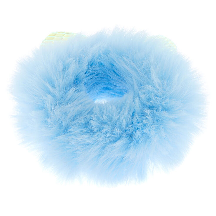 Medium Faux Fur Holographic Ears Hair Scrunchie - Baby Blue,