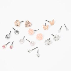 Silver Butterfly Heart Rose Stud Earrings - Pink, 9 Pack,