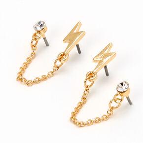 Gold Lightning Bolt Crystal Connector Chain Stud Earrings,