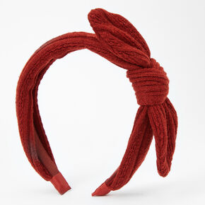 Sweater Knotted Bow Headband - Rust,