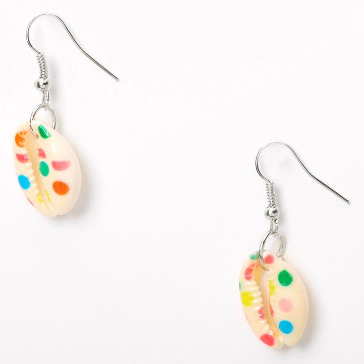"Silver 1"" Rainbow Polka Dot Cowrie Shell Drop Earrings,"