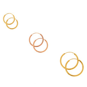 18kt Gold Plated Mixed Metal Graduated Hoop Earrings - 3 Pack,