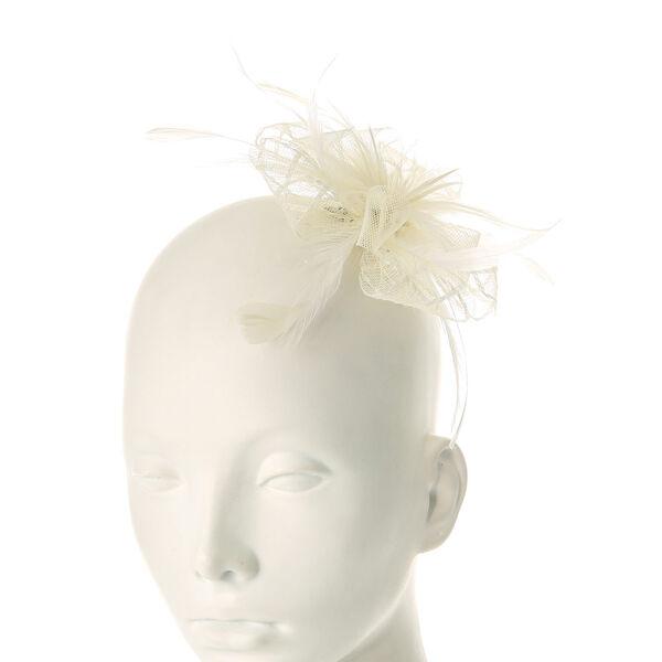 Claire's - cream mesh feather fascinator flower - 1