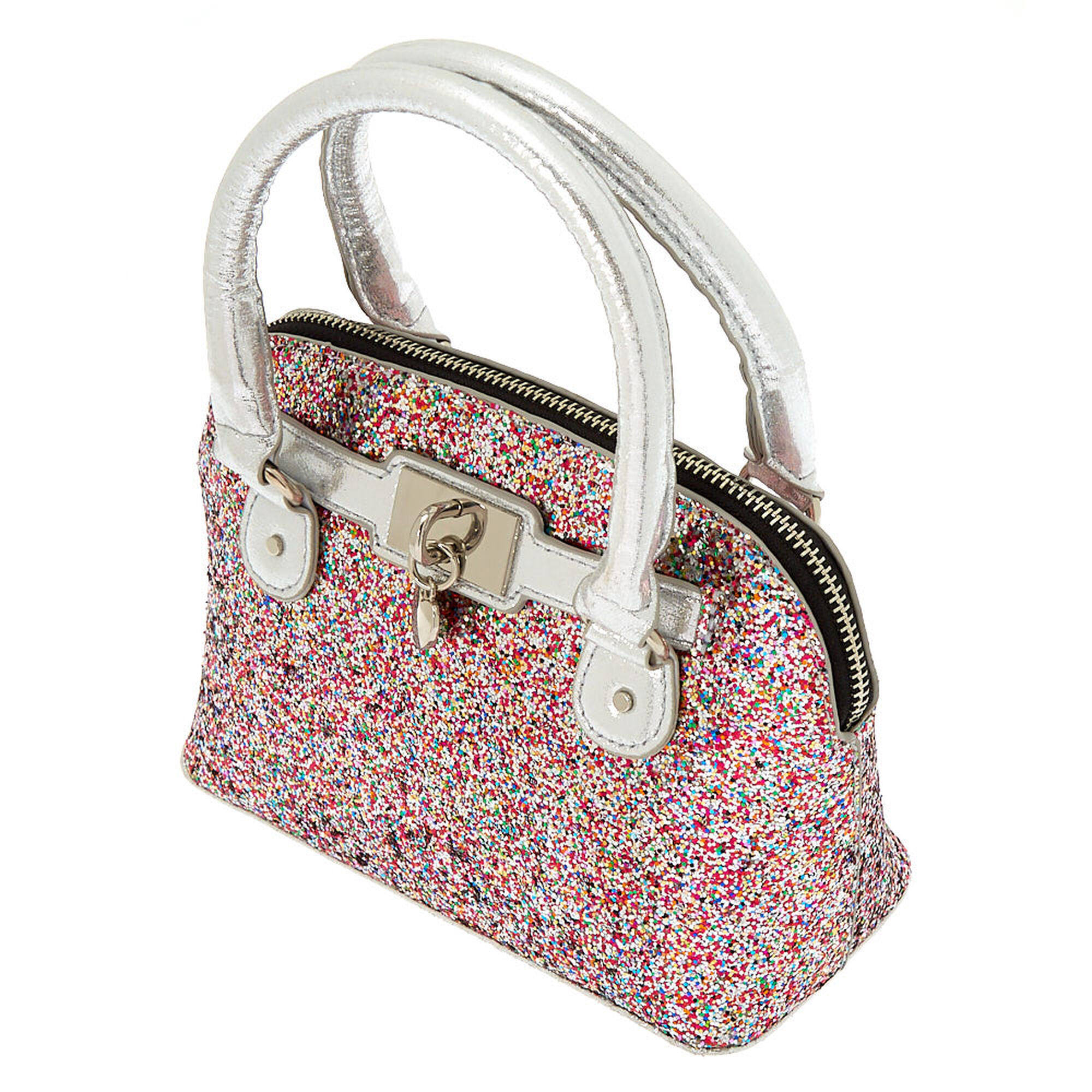 Rainbow Glitter Mini Satchel Crossbody Bag Silver