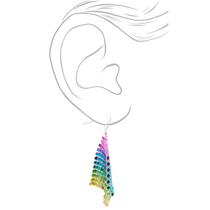 "Silver 2.5"" Cool Tone Mesh Chain Drop Earrings,"