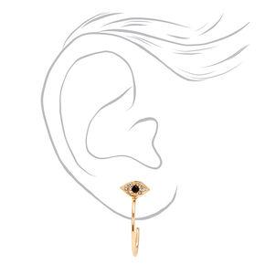 Gold 20MM Evil Eye Post Hoop Earrings,