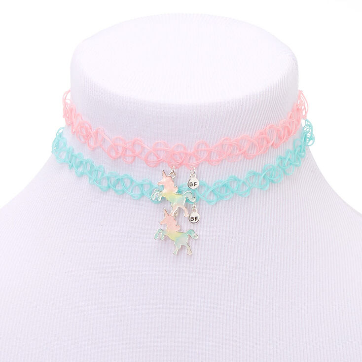 Best Friends Pastel Unicorn Glow In The Dark Tattoo Choker Necklaces - 2 Pack,