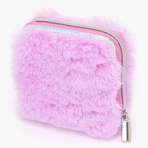 Furry Mini Zip Wallet - Pink,