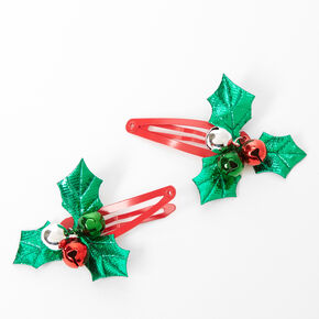 Holly Bells Snap Hair Clips - 2 Pack,