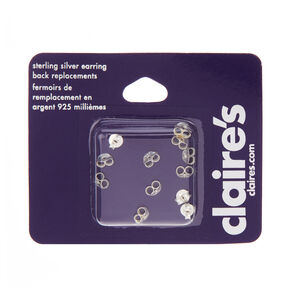 Sterling Silver Replacement Earring Backs - 12 Pack,