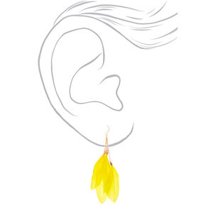 "Gold 3.5"" Feather Drop Earrings - Yellow,"