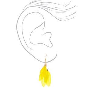Pendantes plume 9cmcouleur dorée - Jaune,