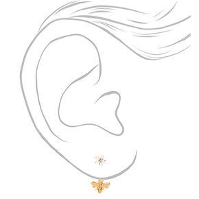 Gold Buzzing Bee Ear Jacket Earrings,