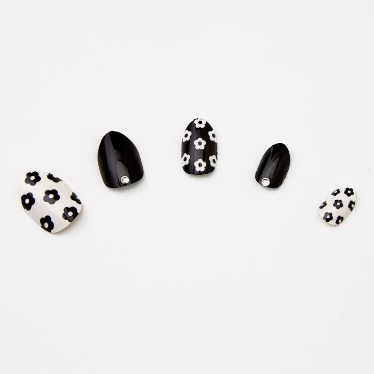 Daisy Stiletto Press On Faux Nail Set - Black & White, 24 Pack,