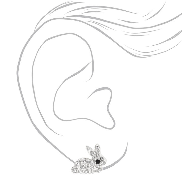 Silver Embellished Easter Bunny Stud Earrings,