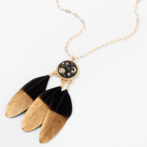 Gold Dipped Feather Celestial Pendant Necklace - Black,