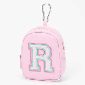 Pink Varsity Initial Mini Backpack Keychain - R,