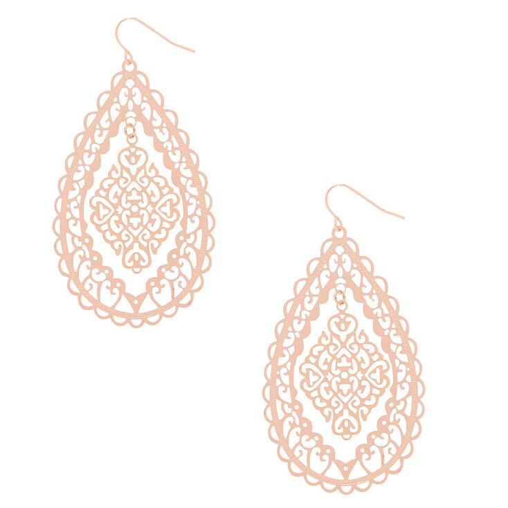 Rose Gold 2 5 Filigree Drop Earrings