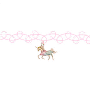 Pastel Unicorn Tattoo Choker Necklace,