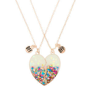 Pendant necklaces claires us best friends confetti dipped heart pendant necklaces white 2 pack aloadofball Image collections