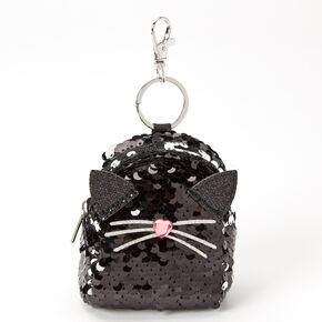 Sequin Cat Mini Backpack Keychain - Black,