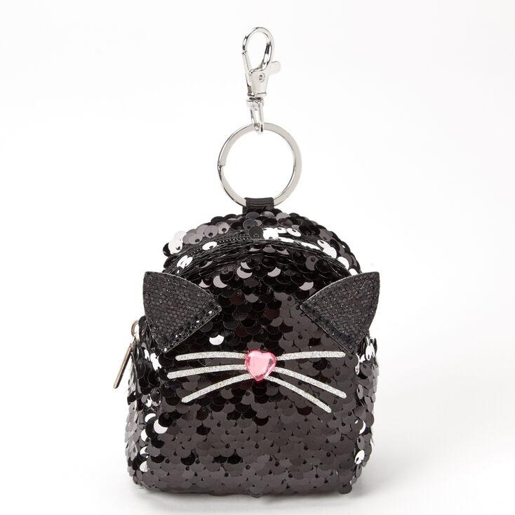 Sequin Cat Mini Backpack Keychain - Black,