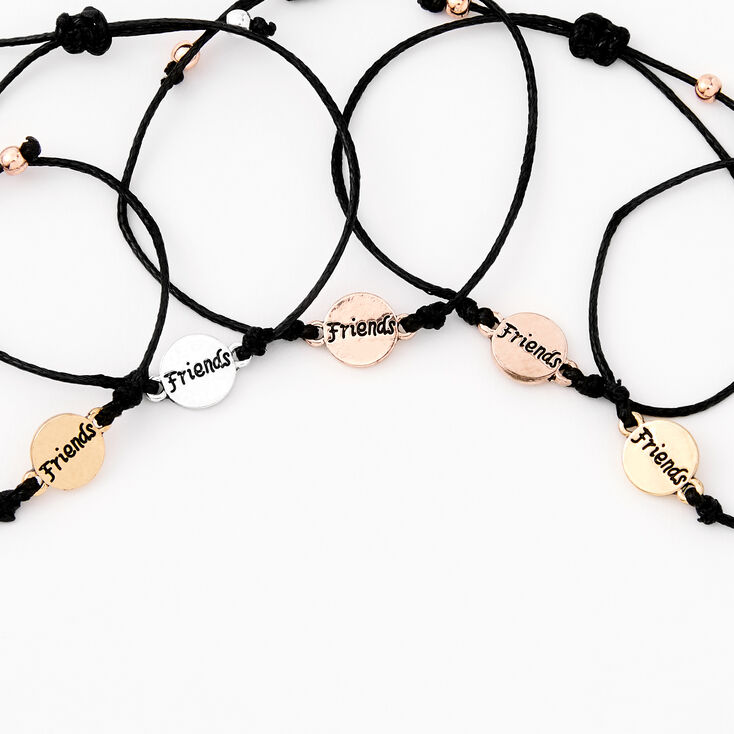 Mixed Metal Adjustable Friendship Bracelets - 5 Pack,