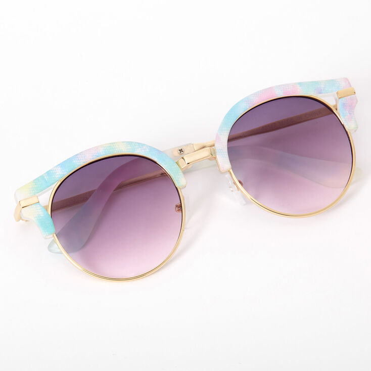 Etched Tie Dye Round Browline Sunglasses - Turquoise,