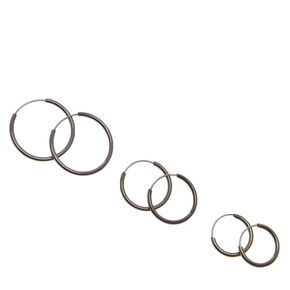 Graduated Hoop Earrings - Black, 3 Pack,