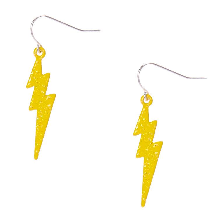 Silver Lightning Bolt Drop Earrings - Yellow,