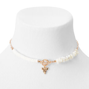 Rose Gold Puka Shell Shark Tooth Toggle Choker Necklace - White,