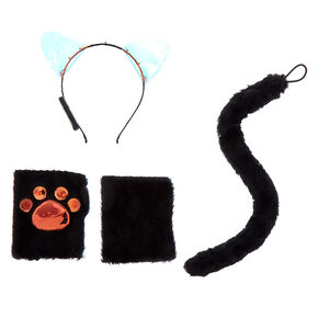 Light Up Furry Cat Costume Set - Black, 3 Pack,