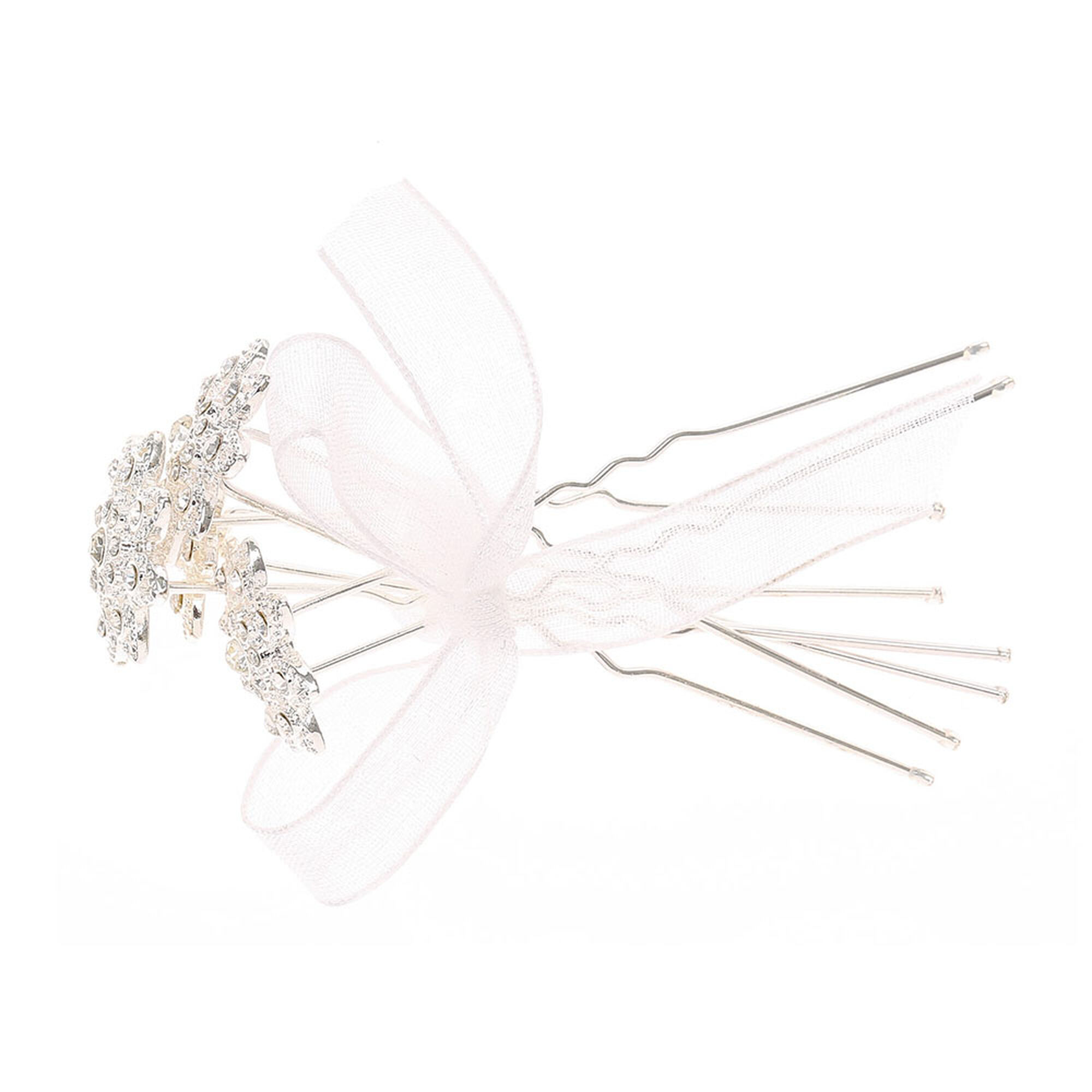 4 Pack Silver Crystal Flower Hair Pins Claires