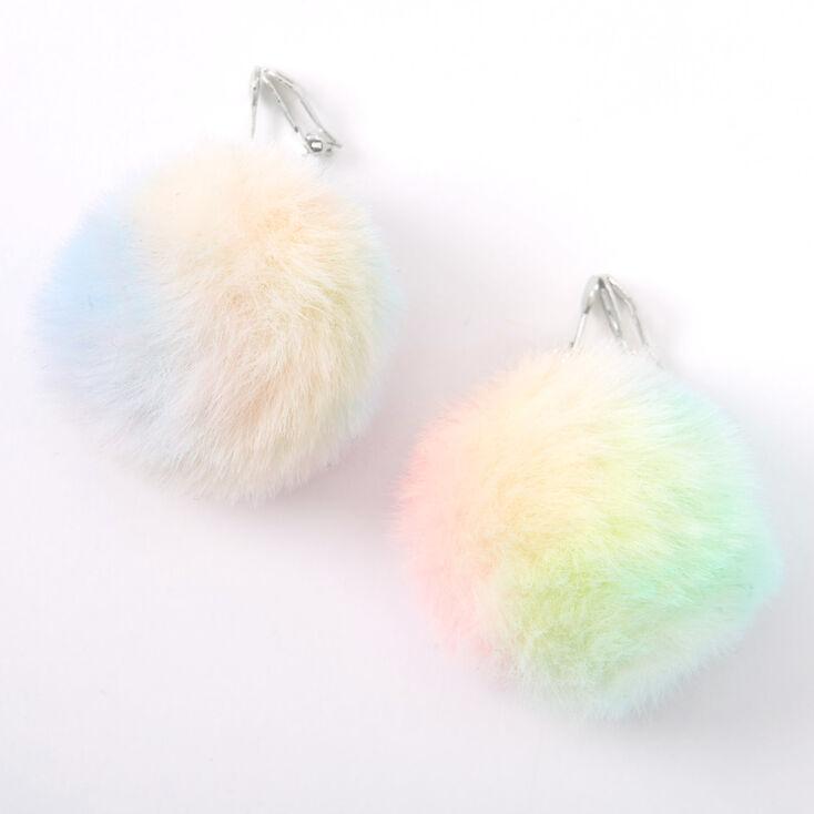 """Silver 1.5"""" Rainbow Pastel Pom Pom Clip On Drop Earrings,"""