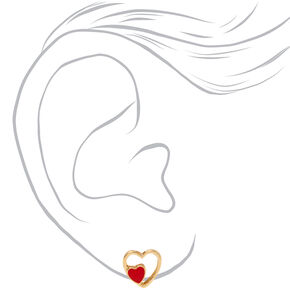 Gold Double Heart Stud Earrings - Red,