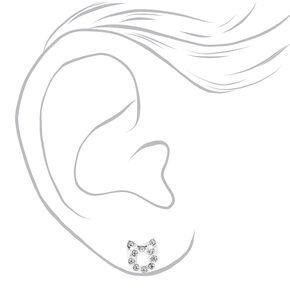 Clous d'oreilles chat ajourés ornés de strass couleur argentée,