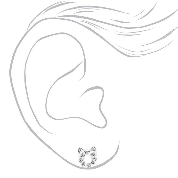 Clous d'oreilles chat en argent ajourés ornés de strass,