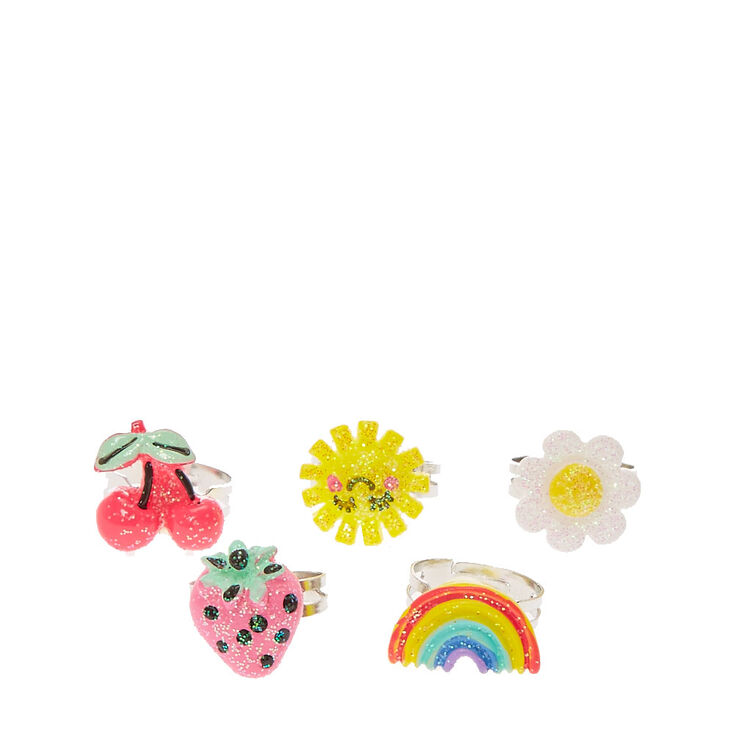 Claire's Club Glitter Summer Charm Rings - 5 Pack,