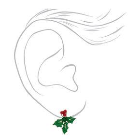 Glitter Holly Leaf Ear Jackets - Green,
