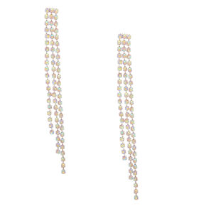 "Silver Iridescent Rhinestone 3"" Triple Chain Drop Earrings,"