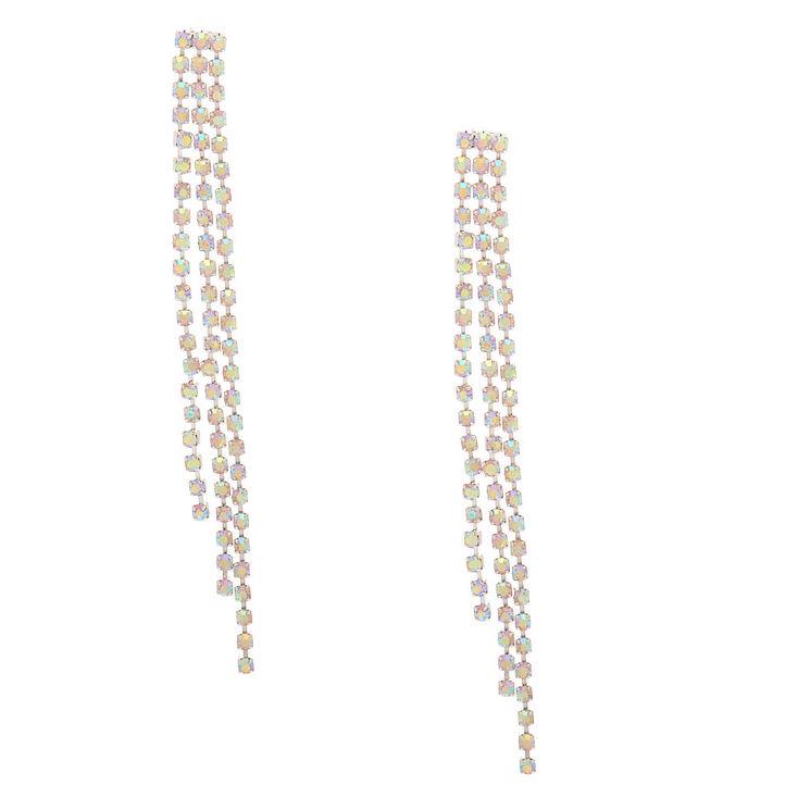 "Silver Iridescent Rhinestone 3"" Triple Chain Drop Earrings,"