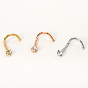 Mixed Metal 20G Classic Cubic Zirconia Nose Studs - 3 Pack,