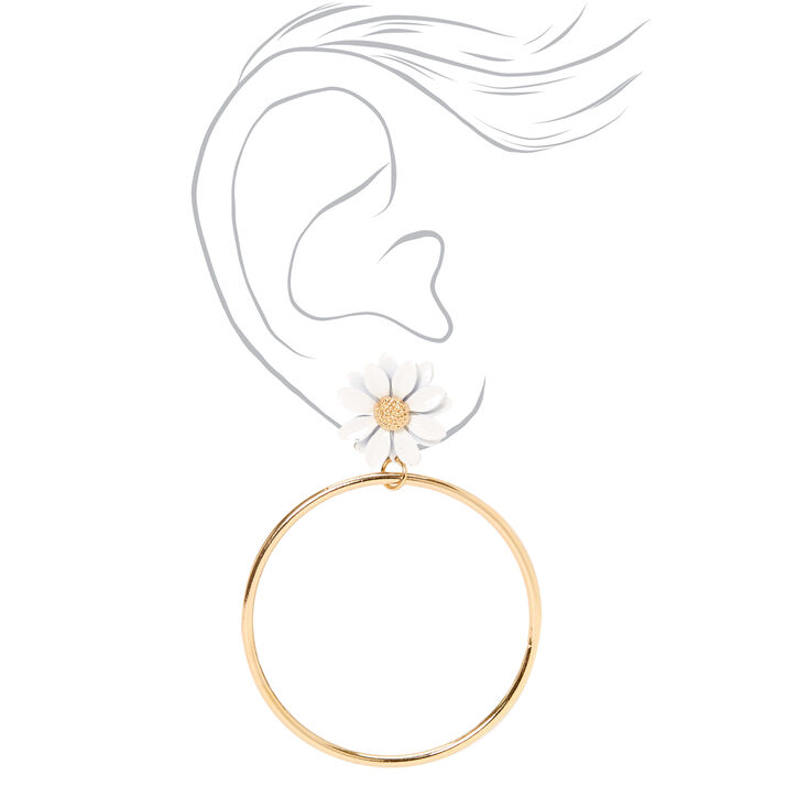 "Gold 3"" Daisy Circle Drop Earrings - White,"