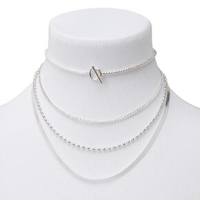 Silver Ball Chain Toggle Multi Strand Necklace,