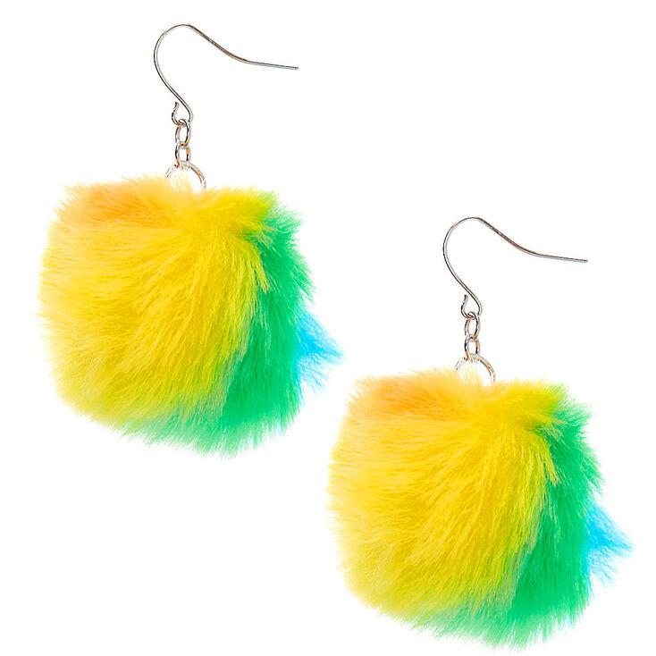 """Silver 2"""" Rainbow Pom Pom Drop Earrings,"""